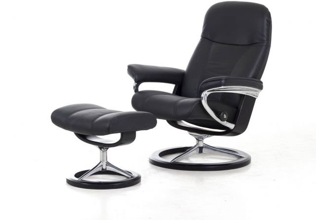 Stressless Consul Signature Base Large Recliner Chair With Footstool