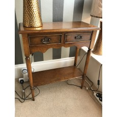 Bleinheim Side Table with 2 Drawers Burr Oak Veneers