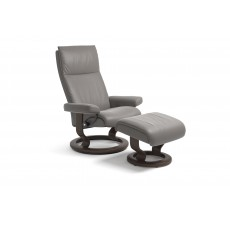 Stressless Aura Classic Base Medium Recliner Chair With Footstool