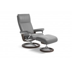 Stressless Aura Signature Base Medium Recliner Chair With Footstool