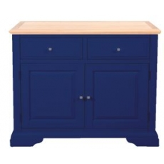 Navy Blue and Oak Small Sideboard with 2 Drawers