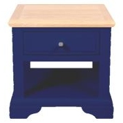 Navy Blue and Oak Lamp Table with Drawer