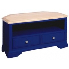 Navy Blue and Oak Corner TV Unit
