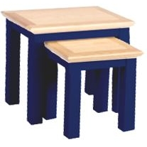 Navy Blue and Oak Nest of 2 Tables