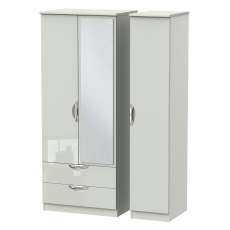 Derwent Standard 2 Drawer Mirrored Triple Robe