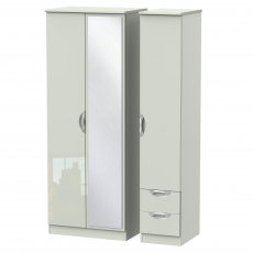 Derwent Tall 2 Drawer Mirrored Triple Robe