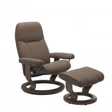 Stressless Consul Small Chair and Footstool with Classic Base