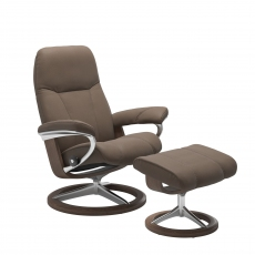 Stressless Consul Small Chair and Footstool with Signature Base