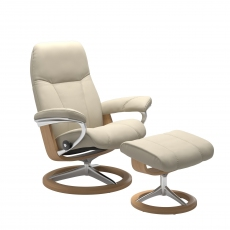 Stressless Consul Medium Chair and Footstool with Signature Base