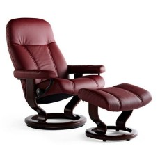 Stressless Consul Classic Base Small Recliner Chair With Footstool