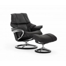 Stressless Reno Signature Base Medium Recliner Chair With Footstool