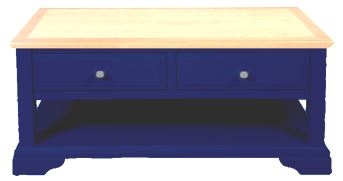 Navy Blue and Oak Coffee Table