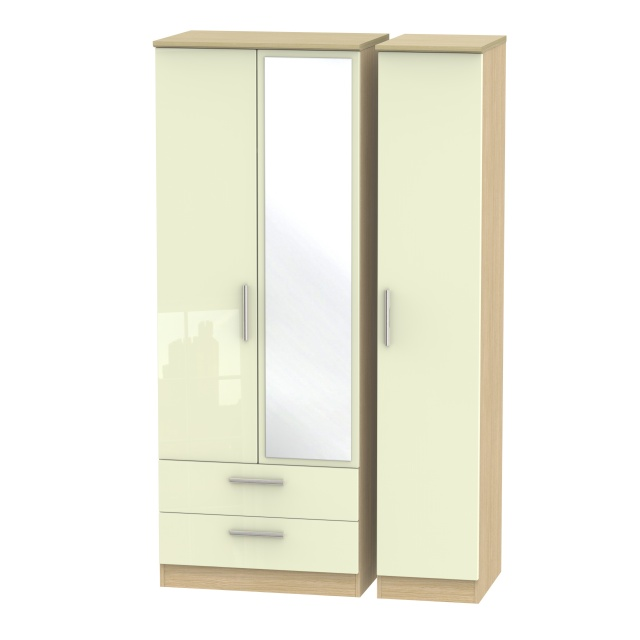 Mayfair Tall Triple 2 Drawer Mirror Wardrobe