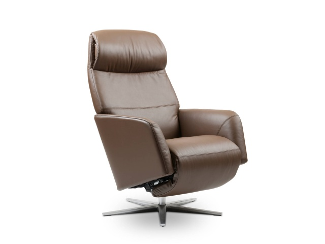Stressless Scott Power Recliner Chair with  Aluminum Cross Base Heated Seat and Massage Function