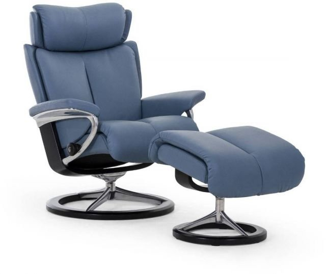 Stressless Magic Signature Base Large Recliner Chair With Footstool